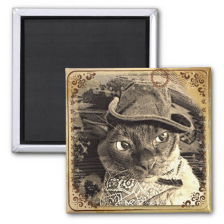 Cowboy Cat 3 2 Inch Square Magnet