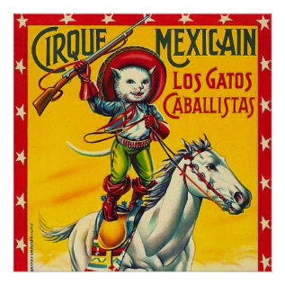Cowboy Cat Mexican Circus Vintage Poster Art at Zazzle