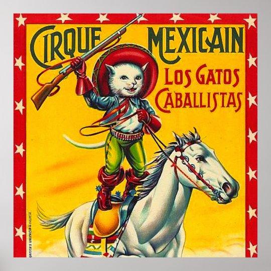 cowboy cat mexican circus vintage poster art zazzlecom