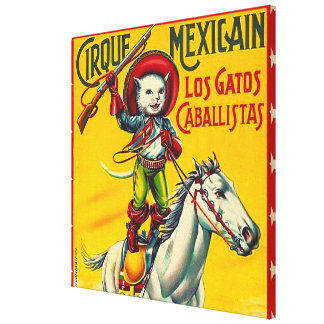 Cowboy Cat Mexican Circus Vintage Poster Art Canvas Print