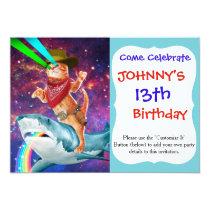 Cowboy cat - orange cat - cat shark invitation