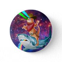Cowboy cat - orange cat - cat shark pinback button
