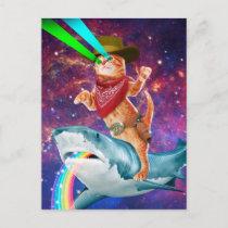 Cowboy cat - orange cat - cat shark postcard