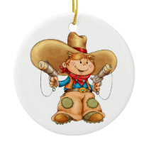 Cowboy Ceramic Ornament