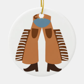 Cowboy Chaps Double-Sided Ceramic Round Christmas Ornament