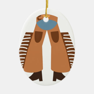 Cowboy Chaps Double-Sided Oval Ceramic Christmas Ornament