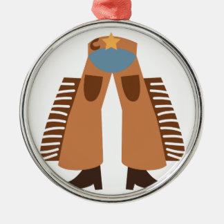 Cowboy Chaps Round Metal Christmas Ornament