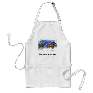 Cowboy chasing horses through the snow adult apron