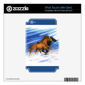 Cowboy chasing horses through the snow iPod touch 4G decal