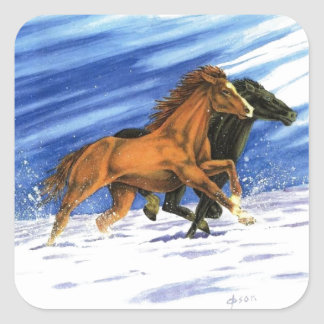 Cowboy chasing horses through the snow square sticker