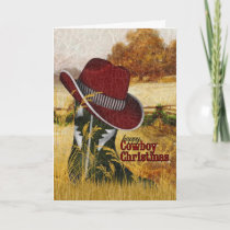 Cowboy Christmas Country Western Boot and Hat Holiday Card