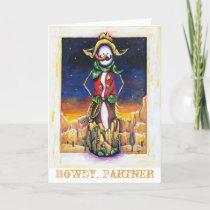 """Cowboy Christmas"" Desert Southwest Snowman Holiday Card"