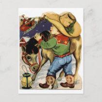 Cowboy Christmas Holiday Postcard