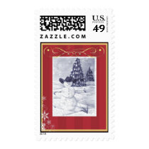 Cowboy Christmas Snowman Picture Postage