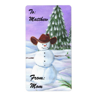 Cowboy Christmas Snowman Picture Shipping Label