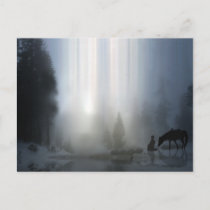 Cowboy Christmas with Horse Postcard