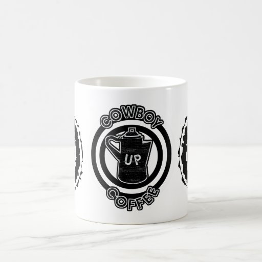 Cowboy Coffee Up -Coffee Pot Black and White Coffee Mug