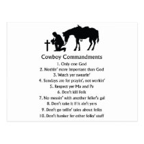 Cowboy Commandments Postcard