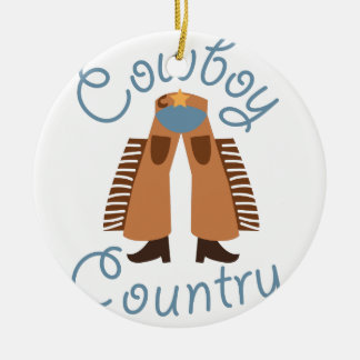Cowboy Country Double-Sided Ceramic Round Christmas Ornament