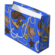 Cowboy Country Western pattern large gift bag