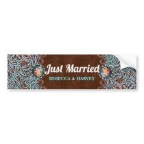 cowboy country western wedding just married bumper sticker