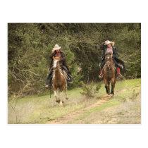 Cowboy couple riding horses postcard