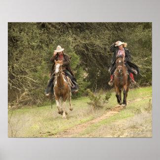 Cowboy couple riding horses print