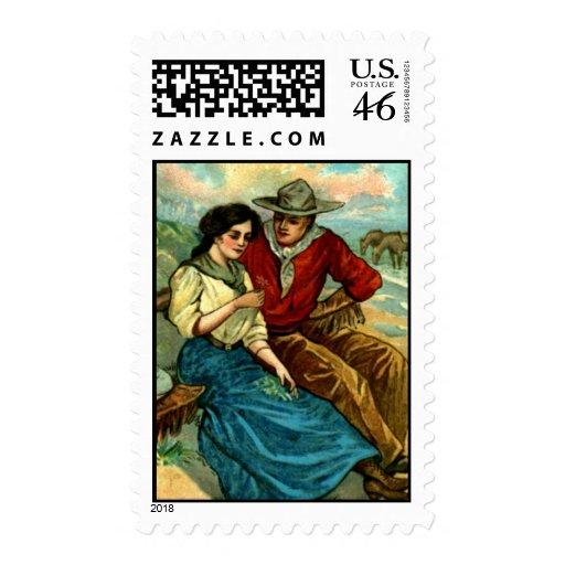 Cowboy Courtship Postage Stamps