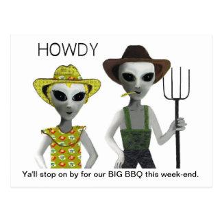 Cowboy, Cowgirl Aliens - HOWDY! Postcard