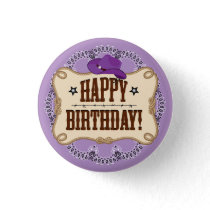 Cowboy, Cowgirl Birthday Button