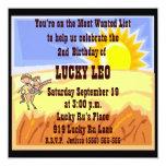 "Cowboy/Cowgirl Birthday Party Invitation 5.25"" Square Invitation Card"
