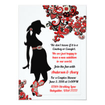 Cowboy Cowgirl Black Red White Couples Baby Shower Invitation