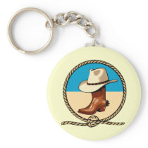 Cowboy, Cowgirl, Hat and Boot Keychain