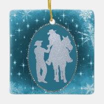 Cowboy Cowgirl Horse Romantic  Christmas Ceramic Ornament
