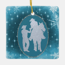 Cowboy Cowgirl Horse Romantic  Christmas Ceramic Ornament