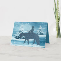 Cowboy Cowgirl Horse Winter Scene Holiday Card