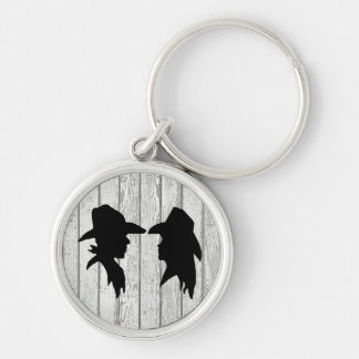 Cowboy & Cowgirl Silhouettes on Whitewashed Planks Silver-Colored Round Keychain