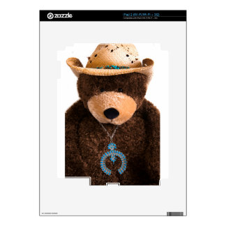 Cowboy Cowgirl Teddy Bear Western Turquoise Hat Decals For The iPad 2