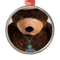 Cowboy Cowgirl Teddy Bear Western Turquoise Hat Metal Ornament