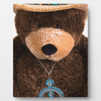 Cowboy Cowgirl Teddy Bear Western Turquoise Hat Plaque