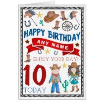 Cowboy Cowgirl Western Personalised Birthday Card