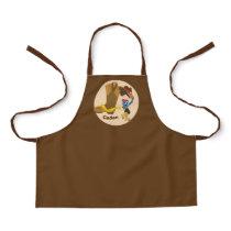 Cowboy Custom Kids Monogram Brown Little Boys Apron