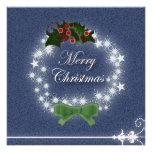 Cowboy Denim Christmas Wreath Party Invitation