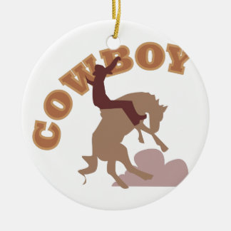 Cowboy Double-Sided Ceramic Round Christmas Ornament