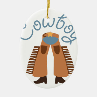 Cowboy Double-Sided Oval Ceramic Christmas Ornament