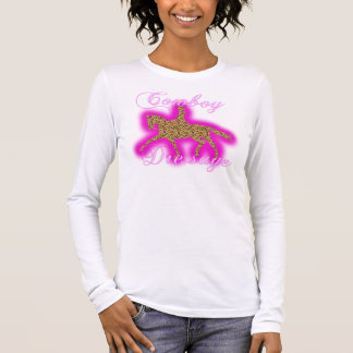 Cowboy Dressage - Cowgirl - Pink Leopard Long Sleeve T-Shirt