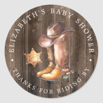 Cowboy | Drive-By Baby Shower Thank You Favor Classic Round Sticker