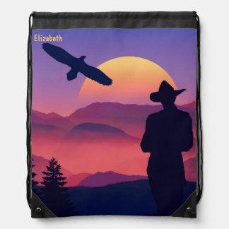 Cowboy Eagle And Rising Sun Wild West Drawstring Bag