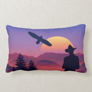 Cowboy Eagle And Rising Sun Wild West Pillow