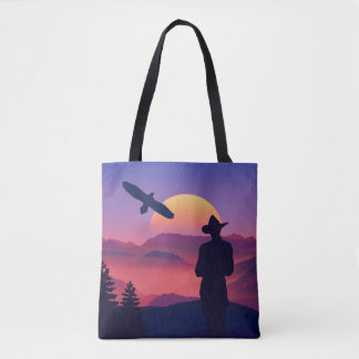 Cowboy Eagle And Rising Sun Wild West Tote Bag